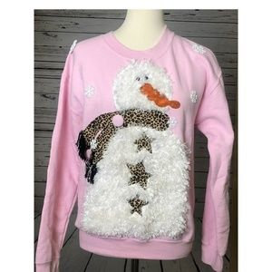 Ugly Christmas Sweater Small Fuzzy Snowman Cheetah